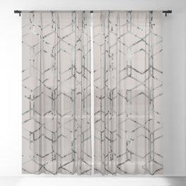 Silver Geometric Art Deco - Gatsby Taupe Sheer Curtain