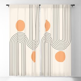 Geometric Lines in Gold and Black 19 (Rainbow and Sun Abstraction) Blackout Curtain