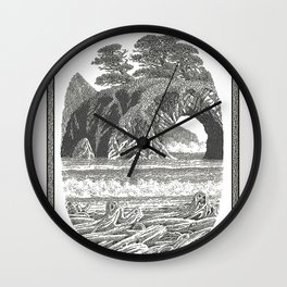 SEASIDE ARCH, BISHOP PINE, AND DRIFTWOOD VINTAGE PEN DRAWING Wall Clock