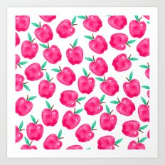 Pink turquoise watercolor apples back to school pattern Art Print