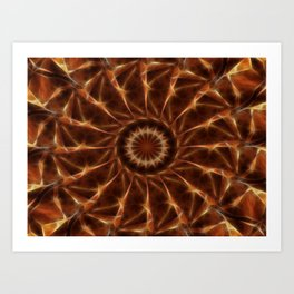 Brown Tan Gold Kaleidoscope Art 6 Art Print