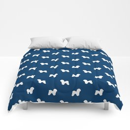 Bichon Frise dog pattern navy and white minimal pet patterns dog breeds silhouette Comforters