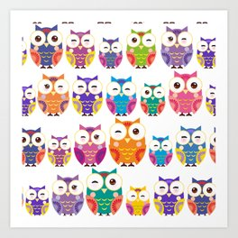 pattern - bright colorful owls on white background Art Print