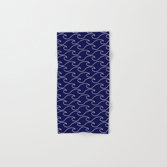 sea waves - white on darkblue pattern Hand & Bath Towel