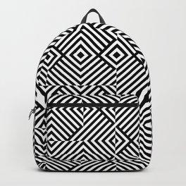 Op art pattern with black white rhombuses Backpack