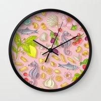 pasta Wall Clocks featuring Pasta Pasta! by Lidija Paradinović Nagulov - Celandine