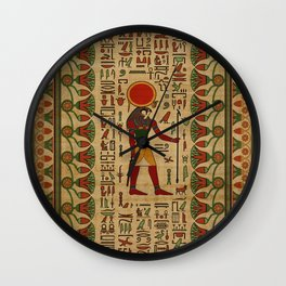 Egyptian Re-Horakhty  - Ra-Horakht  Ornament on papyrus Wall Clock