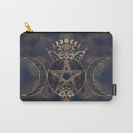 Triple Moon - Triple Goddess Gold and Purples Carry-All Pouch
