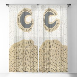 Sun and Moon Relationship // Cosmic Rays of Black with Gold Speckle Stars Cool Minimal Digital Drawn Sheer Curtain