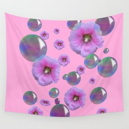 PINK-PURPLE FLOATING HOLLYHOCKS & SOAP BUBBLES PINK  ART Wall Tapestry