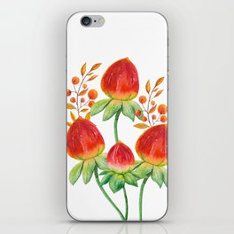 Hand painted orange red green watercolor fall floral iPhone Skin