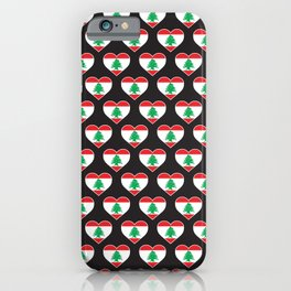 Lebanon Love flag Motif Repeat Pattern design background  iPhone Case