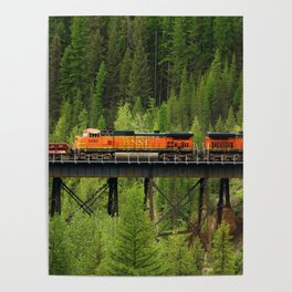 BNSF Going Over Goat Lick Creek Poster