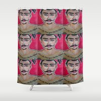 greg guillemin Shower Curtains featuring MOUSTACHED MODEL (GREG)  by Punkboy Marti