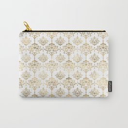 White & Gold Motif Carry-All Pouch