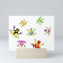 Frogs toads Super Colorful Cute Mini Art Print