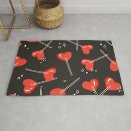 Heart Lollipops – Charcoal Rug
