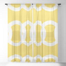 White Circles Yellow Background #decor #society6 #buyart Sheer Curtain