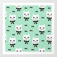 Cute Cats bow ties mint kittens cat art pattern design by andrea lauren Art Print