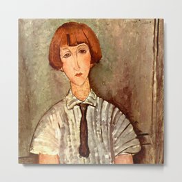 """Amedeo Modigliani """"Young Girl in a Striped Blouse"""" Metal Print"""
