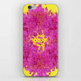 Massed Fuchsia Pink Chrysanthemums Wreath Yellow Art iPhone Skin
