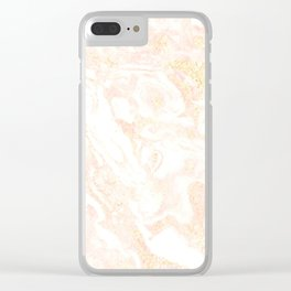 White Marble Pastel Pink and Gold by Nature Magick Clear iPhone Case