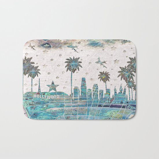 Los Angeles skyline vintage map Bath Mat