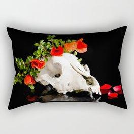 Animal skull with a wreath of wild flower Rectangular Pillow