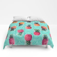 From Pineapple to Pink - tropical doodle pattern on mint Comforters