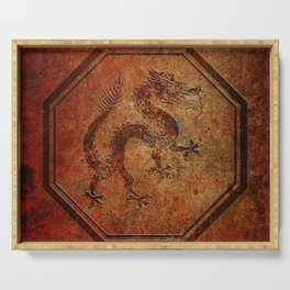 Distressed Chinese Dragon In Octagon Frame Serving Tray