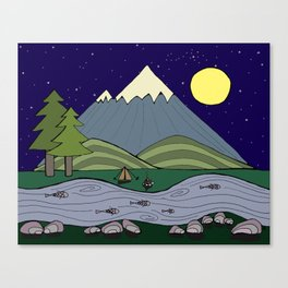 Camping in the Forest at Night  Canvas Print