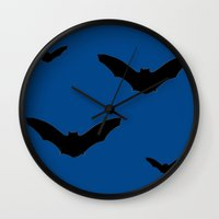 bats Wall Clocks featuring Bats by Jessica Slater Design & Illustration
