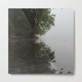 Misty River Bend Metal Print