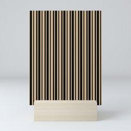 Tan Brown and Black Vertical Var Size Stripes Mini Art Print
