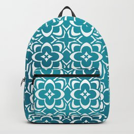 Diamond Floral Organic Geometric Pattern Shine & Shadow (Teal, Deep Blue) Backpack