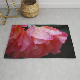 Pink Rose with raindrops Rug