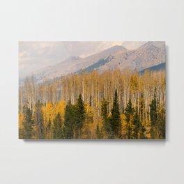 Purple Mountains Golden Aspen Metal Print