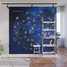 Northern Sky Constellations Map Wall Mural