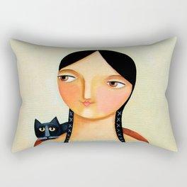 Three Black Cats Rectangular Pillow