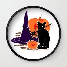 Witch Cat Pumpkin Woodcut Halloween Design Wall Clock