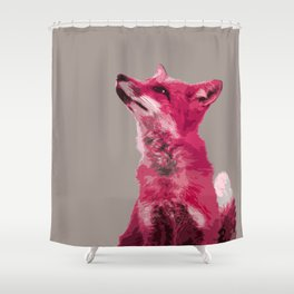 FOX, PINK FOX, PINK FOX WALL ART, CUTE FOX, FOX FACE, FOX IN PINK, WINTER FOX, Shower Curtain