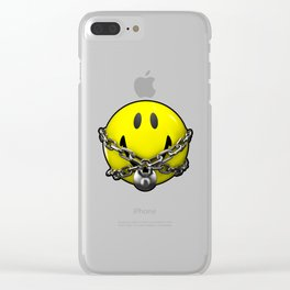 Quit Your Grinning / 3D chained up smiley Clear iPhone Case