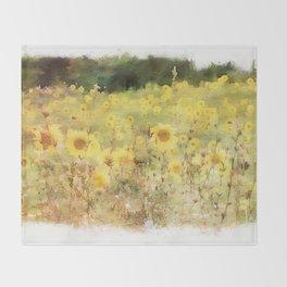 Field of Sunflowers Throw Blanket