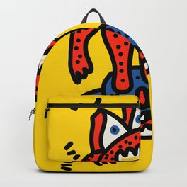 Red Blue Cool Monsters Street Art Yellow Backpack