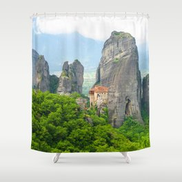 Christian Orthodox monastery of Meteora, Greece Shower Curtain