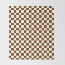 Small Checkered - White and Chocolate Brown Throw Blanket