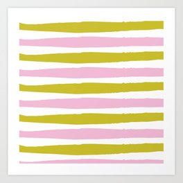 Pink and Green Stripe Art Print