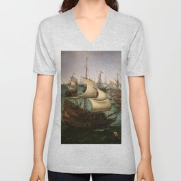 "Hendrick Cornelisz Vroom ""The meeting of Frederic V and Elizabeth Stuart on the sea"" Unisex V-Neck"