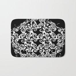 Curlicues Pentagon Black and White Pattern Bath Mat
