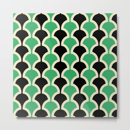 Classic Fan or Scallop Pattern 447 Black and Green Metal Print